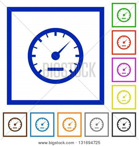 Set of color square framed speedometer flat icons