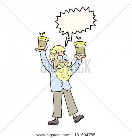 freehand drawn speech bubble cartoon man with coffee cups