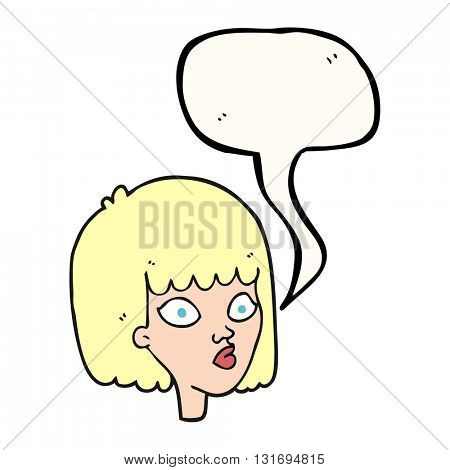 freehand drawn speech bubble cartoon female face