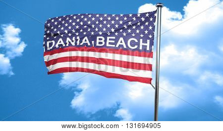 dania beach, 3D rendering, city flag with stars and stripes
