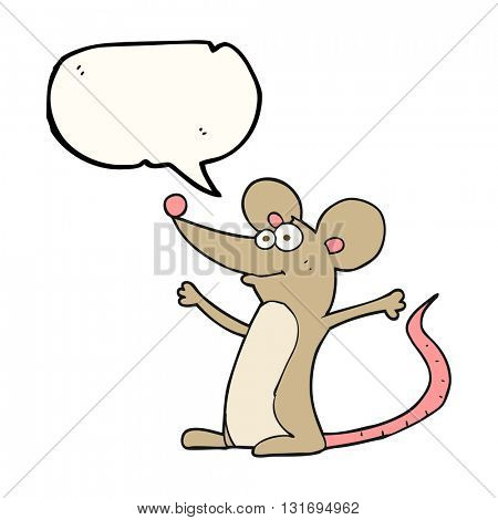 freehand drawn speech bubble cartoon mouse