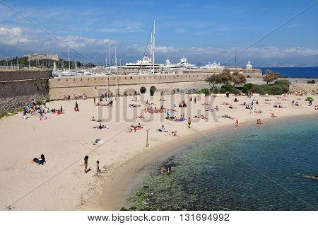 Antibes France - april 15 2016 : tourist on the beach