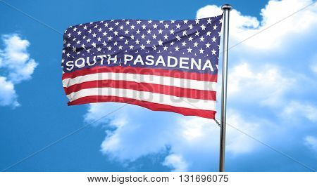 south pasadena, 3D rendering, city flag with stars and stripes