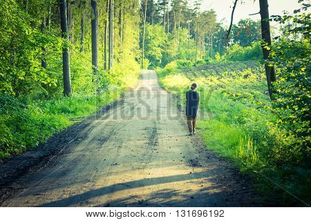 Vintage Photo Of Girl Walking By Forest Path