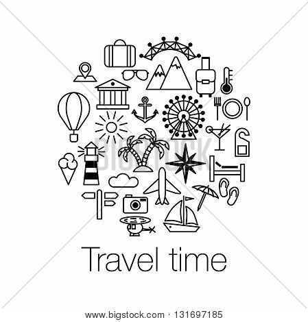Flat Line design graphic image concept, website elements layout of Time to Travel. Travel time poster with sun, helicopter, mountain, tower, palm tree, island and balloon. Vector illustration