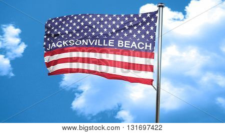 jacksonville beach, 3D rendering, city flag with stars and strip