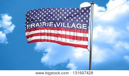prairie village, 3D rendering, city flag with stars and stripes