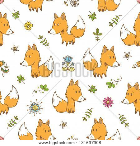 Seamless pattern with cute cartoon foxes plants and flowers on white  background. Funny forest animals. Vector image. Children's illustration.