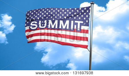 summit, 3D rendering, city flag with stars and stripes