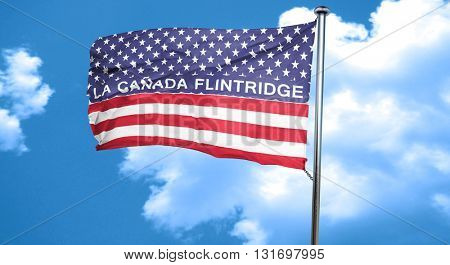 la canada flintridge, 3D rendering, city flag with stars and str