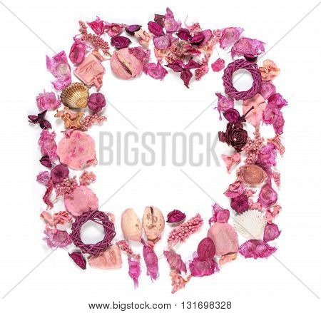 Frame with sea shells dried flowers twigs leaves and petals isolated on white background. Lying down overhead view.
