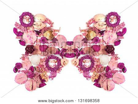 Dried Flowers Arranged To Form A Butterfly.