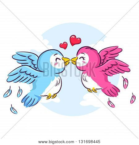 Vector Illustration of two Love Birds Kissing