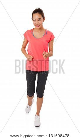 Sport girl isolated on white background. Running fitness sport woman jogging smiling happy.