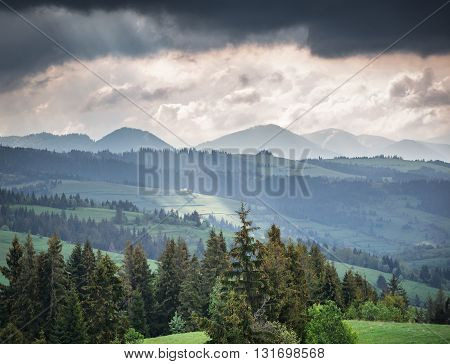 Mountains And Storm Clouds In The Morning