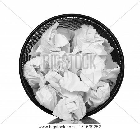 Basket for paper waste isolated on white background. View from above.