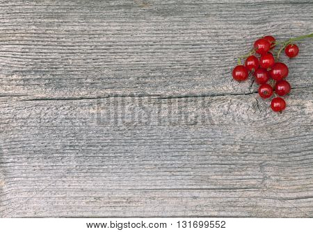 Red Currant in closeup on an elderly wooden board, plank. Texture, pattern in the board.