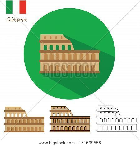 Colosseum icon set. Coliseum icon in different styles flat with long shadow drawn outline isolated. Vector illustration