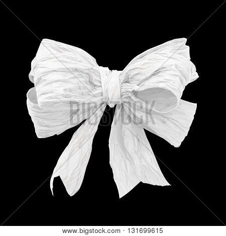 White mulberry paper bow on black background