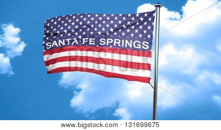 sante fe springs, 3D rendering, city flag with stars and stripes