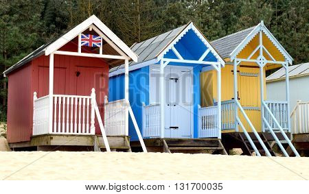 Beach huts near Wells-next-the-Sea in Norfolk England