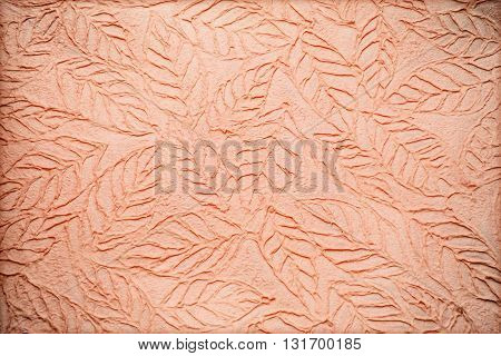 The handmade mulberry paper background with leaves