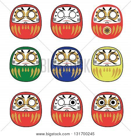Set of japanese new year daruma dolls. Traditional daruma dolls in different colors collection. Vector illustration