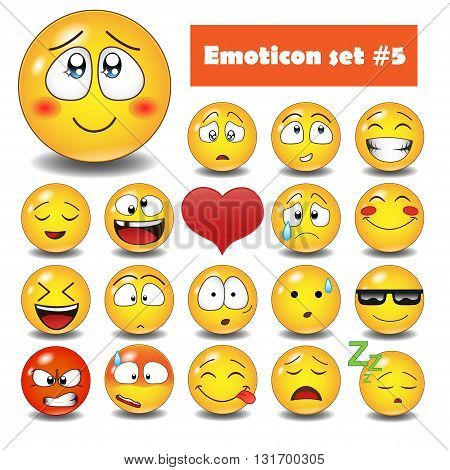 Cute vector emotional face icons.