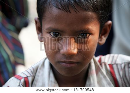 KUMROKHALI, WEST BENGAL, INDIA - JANUARY 16: Portrait of tribal children in a village Kumrokhali, India on January 16, 2009.