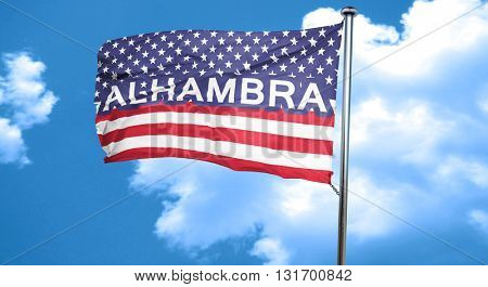 alhambra, 3D rendering, city flag with stars and stripes