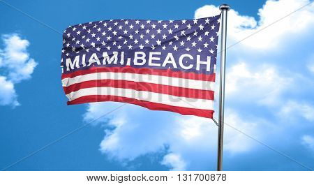 miami beach, 3D rendering, city flag with stars and stripes