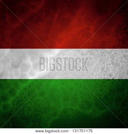 Hungarian flag. Amazing stone texture with multicolor stripes.