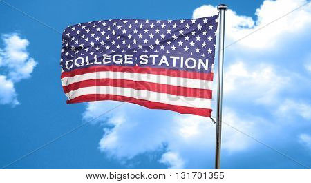 college station, 3D rendering, city flag with stars and stripes