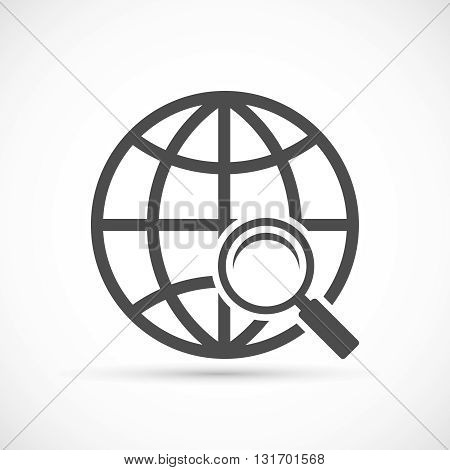 Global search sign icon. Magnifier glass with globe symbol illustration