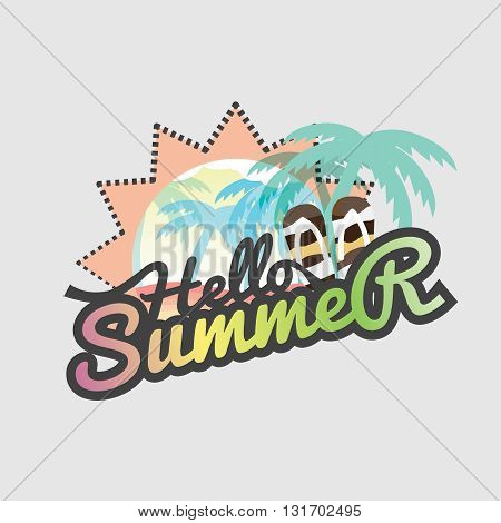 Hello Summer Badge Design Vector Illustration. EPS 10