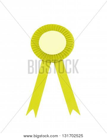 yellow satin ribbon bow Isolated on white