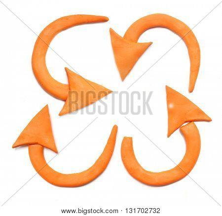 Plasticine arrow icons set.
