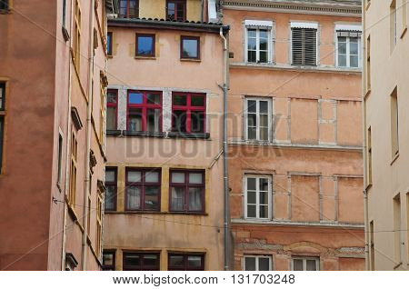 Lyon France - april 13 2016: the picturesque saint Jean district in the old historical Lyon