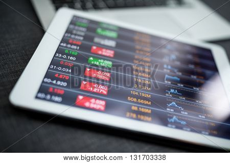 Financial data on digital tablet