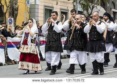 CAGLIARI, ITALY - May 1, 2016: 360 ^ Feast of Saint Efisio - Sardinia