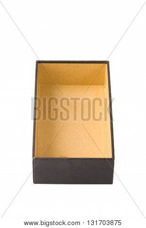 Open cardboard tray or dark brown paper package tray isolated with soft shadow on White background