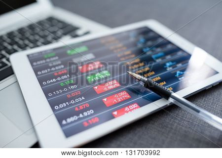Tablet computer with stock exchange data