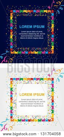 Background card with colored dots and streamers around a square area to place text