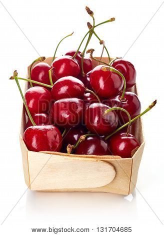 Cherry In Wooden Box Isolated On White