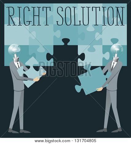 Right solution concept flat vector. Business concept