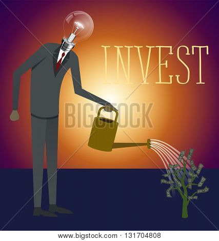 Flat style invest concept web infographics vector illustration. Businessman watering plant with dollar leaves
