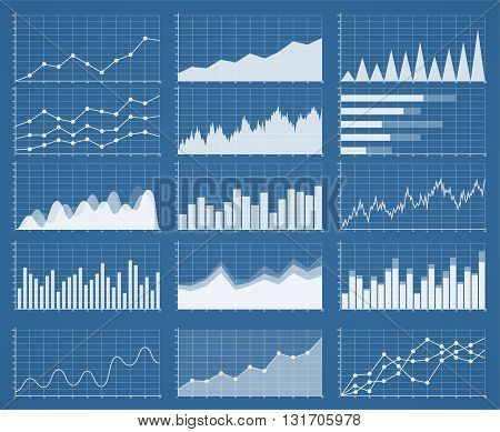 Business graphics and charts set. Analysis and management of financial assets. Information on charts statistical data. Growth and falling on Information graphics infographics.