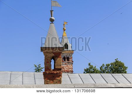 This is invisible characteristic fragment of ancient Russian architecture - chimneys chambers of the 16th century Rostov Kremlin.
