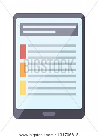 Tablet pc computer document on screen vector