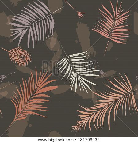 Summer vacationpalm leaves print cover in vector .Abstract wallpaper pattern. Fahion background
